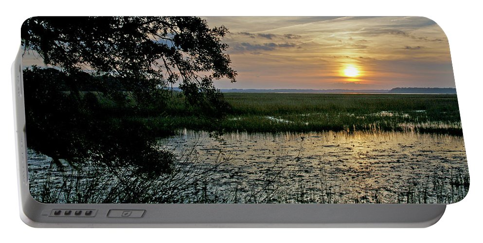 Sunrise Portable Battery Charger featuring the photograph Marsh View by Phill Doherty
