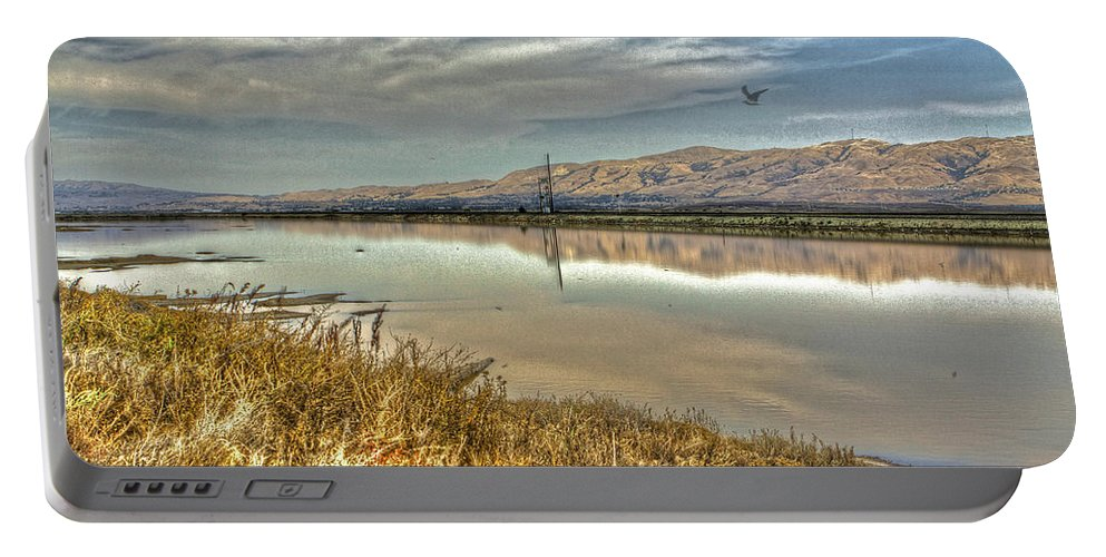 Alviso Portable Battery Charger featuring the photograph Marshlands 2 by SC Heffner