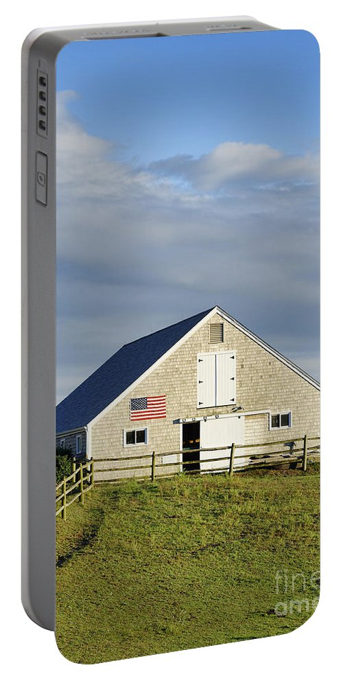 America Portable Battery Charger featuring the photograph Martha's Vineyard Barn by John Greim