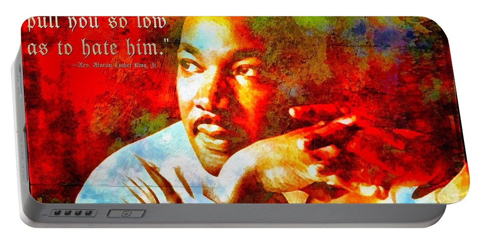 Jesus Portable Battery Charger featuring the digital art Martin Luther King Jr by Michelle Greene Wheeler