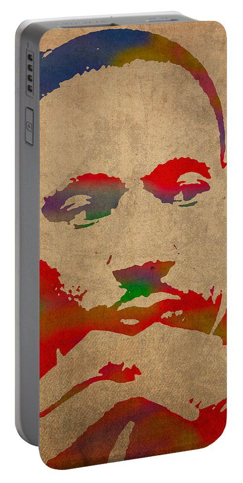 Martin Luther King Jr Watercolor Portrait On Worn Distressed Canvas Portable Battery Charger featuring the mixed media Martin Luther King Jr Watercolor Portrait On Worn Distressed Canvas by Design Turnpike