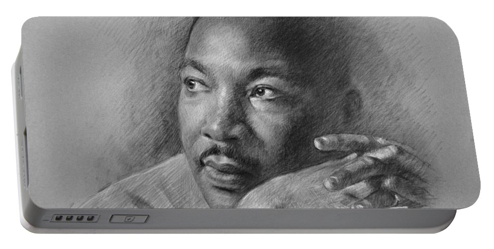 Portrait Portable Battery Charger featuring the drawing Martin Luther King Jr by Ylli Haruni