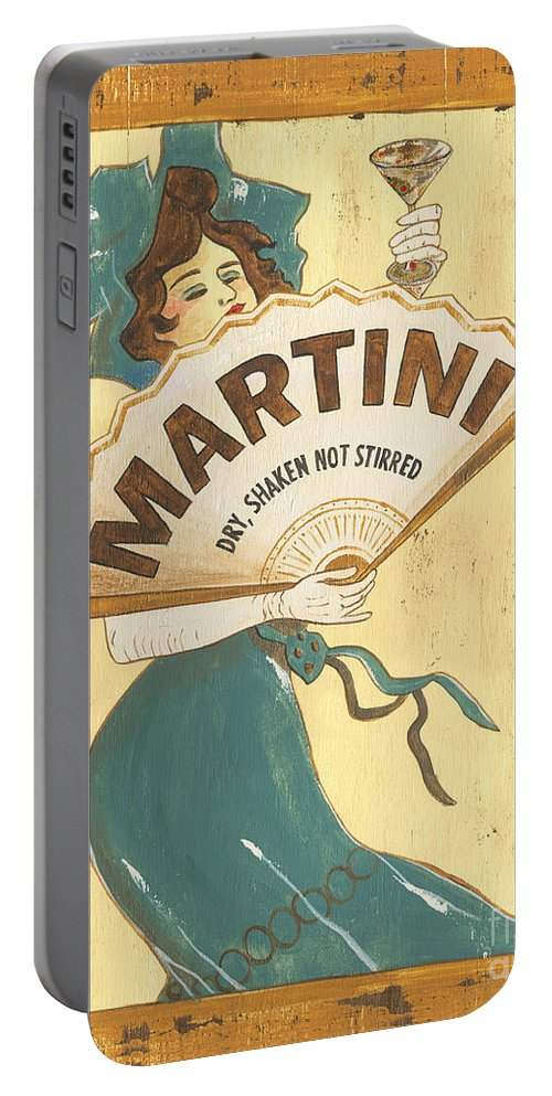 Martini Portable Battery Charger featuring the painting Martini dry by Debbie DeWitt