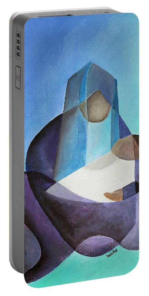 Christmas Portable Battery Charger featuring the painting Mary And Messiah by Taiche Acrylic Art