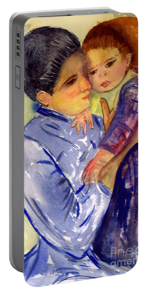 Artist Portable Battery Charger featuring the painting Mary Cassatt Helene De Septeuil In Watercolor by Donna Walsh