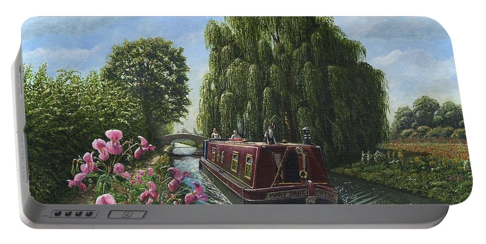Landscape Portable Battery Charger featuring the painting Mary Jane Chesterfield Canal Nottinghamshire by Richard Harpum