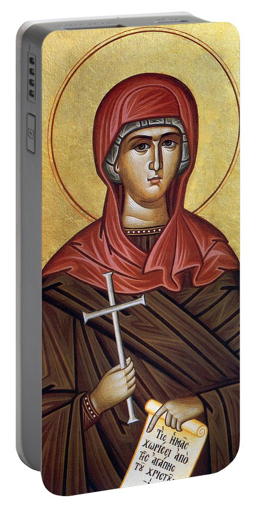 Cross Portable Battery Charger featuring the photograph Mary With The Cross by Munir Alawi