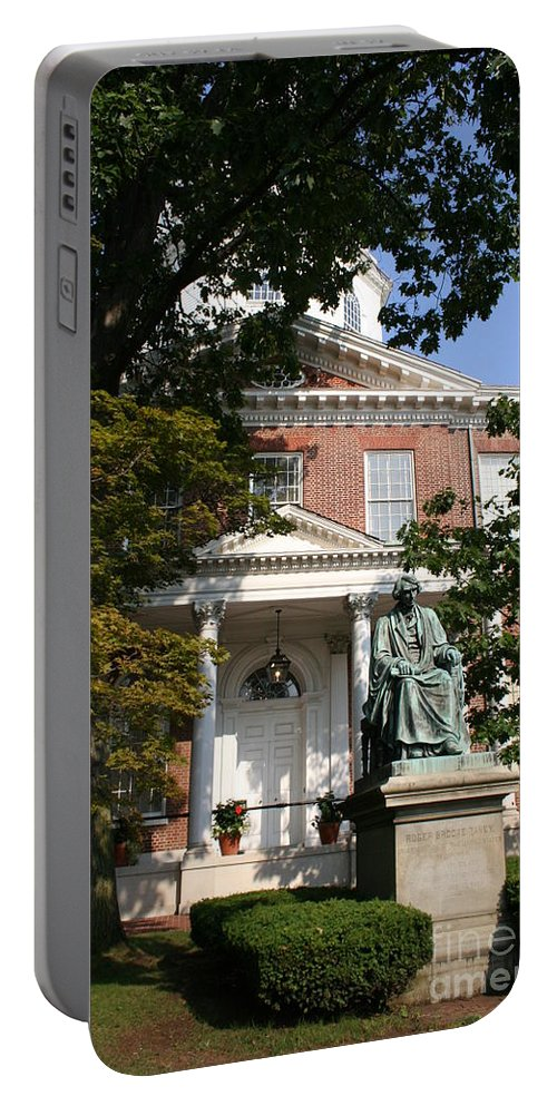 State House Portable Battery Charger featuring the photograph Maryland State House And Statue by Christiane Schulze Art And Photography