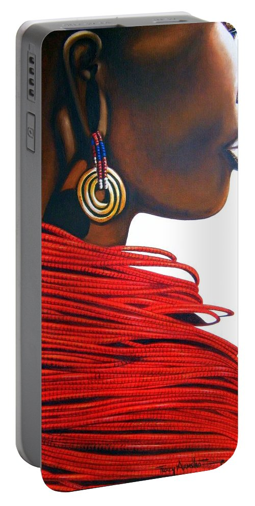 African Portrait Portable Battery Charger featuring the painting Masai Bride - Original Artwork by Tracey Armstrong