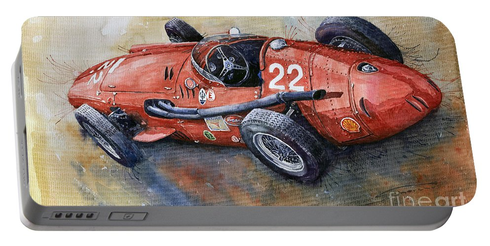Classic Car Portable Battery Charger featuring the painting Maserati 250 F 1957 by Yuriy Shevchuk