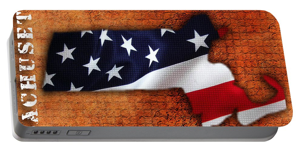 Massachusetts Digital Art Portable Battery Charger featuring the mixed media Massachusetts American Flag State Map by Marvin Blaine