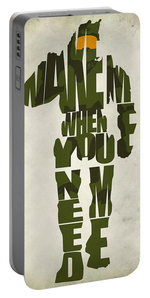Master Chief Portable Battery Charger featuring the digital art Master Chief by Inspirowl Design