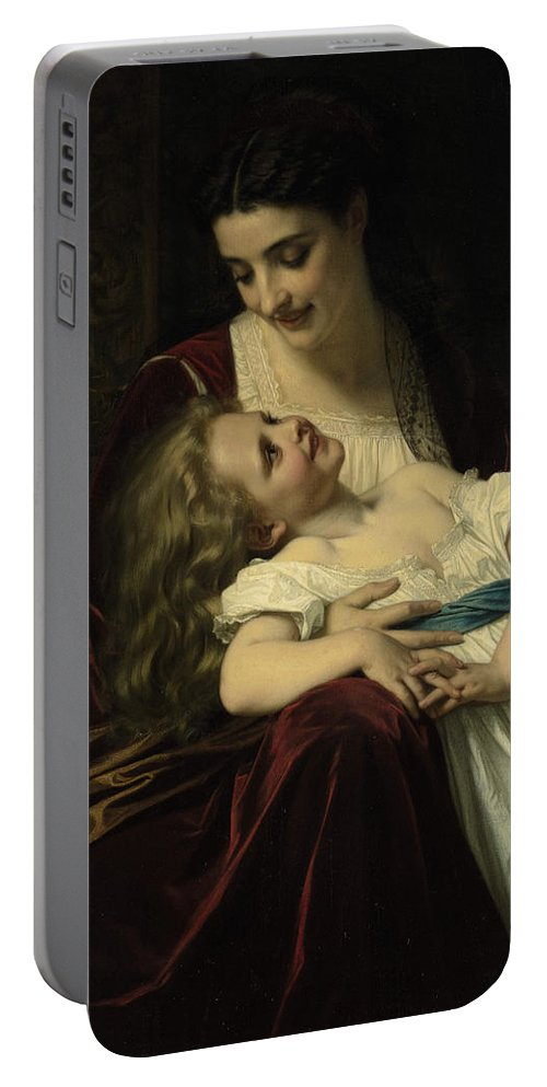 Maternal Affection Portable Battery Charger featuring the digital art Maternal Affection by Hughes Merel