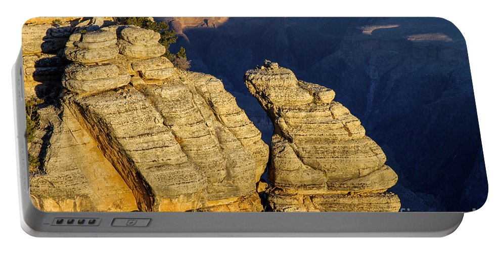 Grand Canyon National Park Arizona Parks Mather Point South Rim Canyons Rock Formations Rock Formation Sunrise Sunrises Landscape Landscapes Landmark Landmarks Portable Battery Charger featuring the photograph Mather Point by Bob Phillips