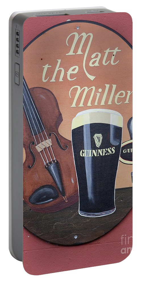 Matt The Millers Portable Battery Charger featuring the photograph Matt The Millers Pub Sign by Christiane Schulze Art And Photography