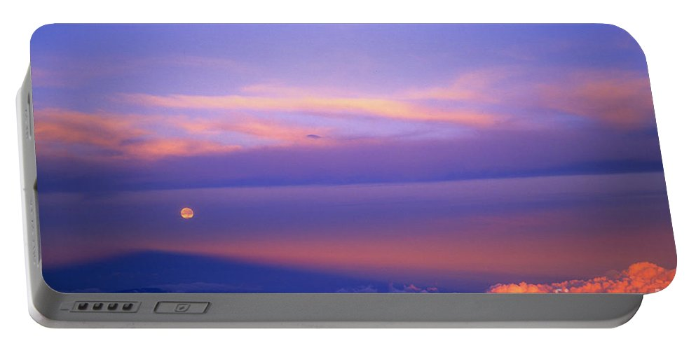 Sunrise Portable Battery Charger featuring the photograph Maui Full Moonset At Sunrise II by Jim Cazel