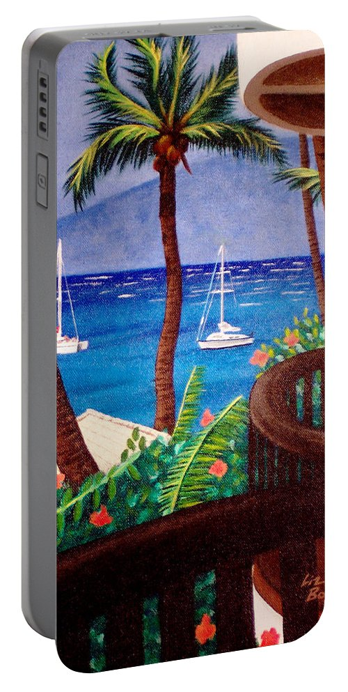 Hawaii Portable Battery Charger featuring the painting Maui by Liz Boston