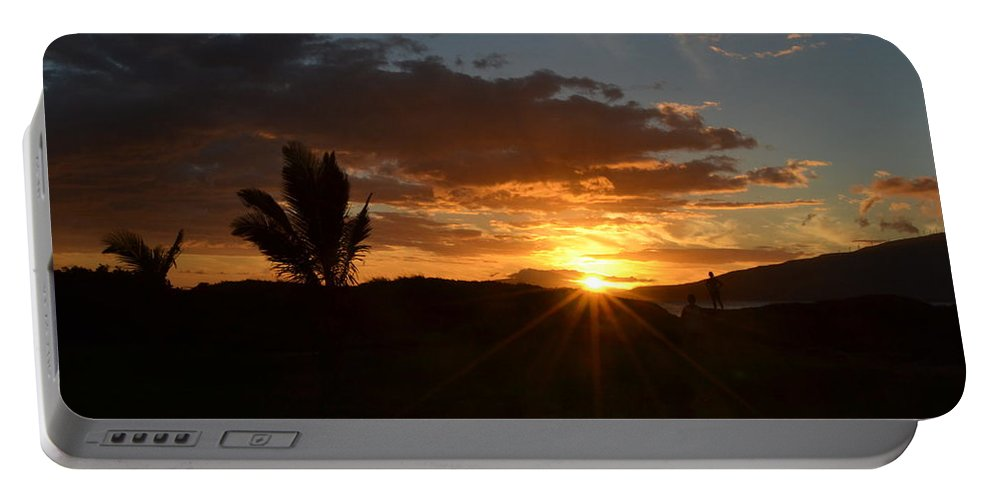 Sunset Portable Battery Charger featuring the photograph Maui Sunset by Christine Owens