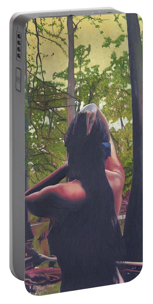 Figure Portable Battery Charger featuring the painting May Morning Arkansas River 5 by Thu Nguyen