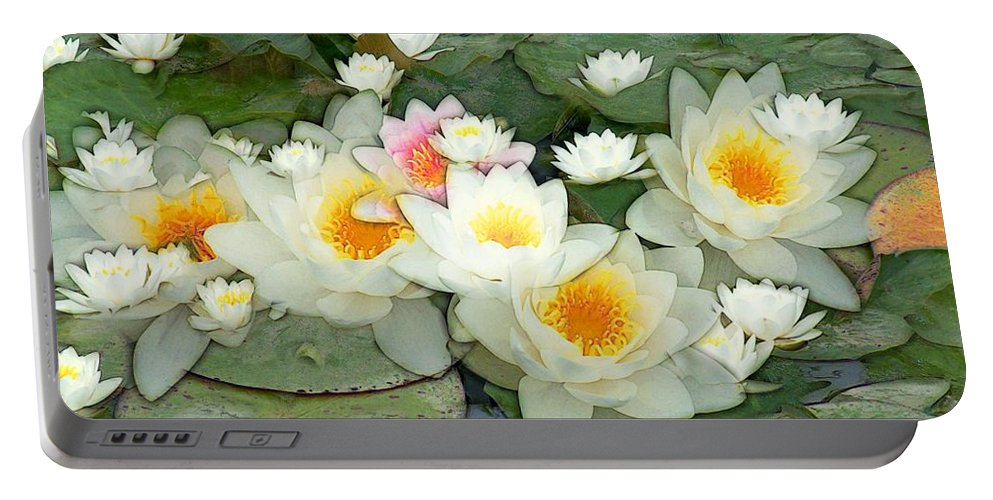 Water Lilies Portable Battery Charger featuring the painting May Pond by RC DeWinter