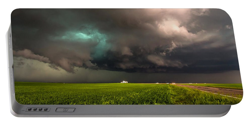 Storm Portable Battery Charger featuring the photograph May Thunderstorm - Storm Twists Over House On Colorado Plains by Sean Ramsey