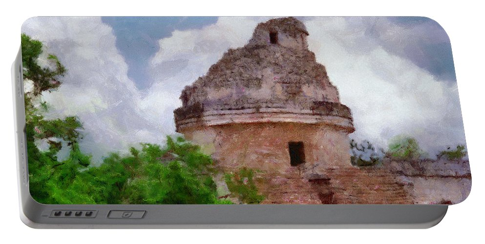 Yucatan Portable Battery Charger featuring the painting Mayan Observatory by Jeffrey Kolker