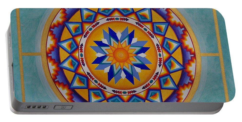 Mandala Portable Battery Charger featuring the painting Mayan Shield by Mayki Wiberg