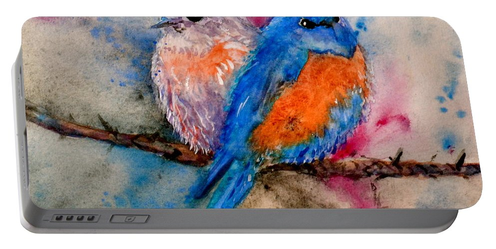 Bluebird Portable Battery Charger featuring the painting Maybe She's A Bluebird by Beverley Harper Tinsley