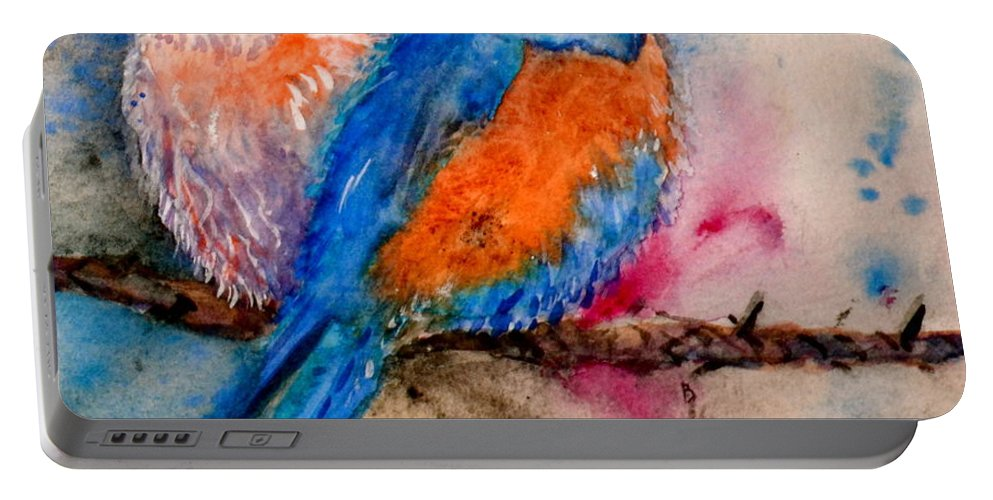 Bluebird Portable Battery Charger featuring the painting Maybe She's A Bluebird Cropped by Beverley Harper Tinsley