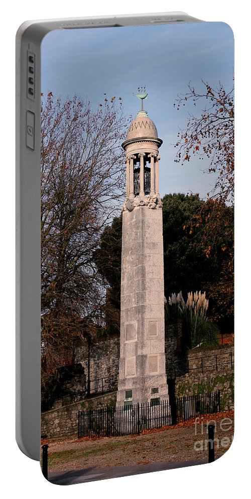Pilgrim Fathers Monument Portable Battery Charger featuring the photograph Mayflower Memorial Southampton England by Terri Waters
