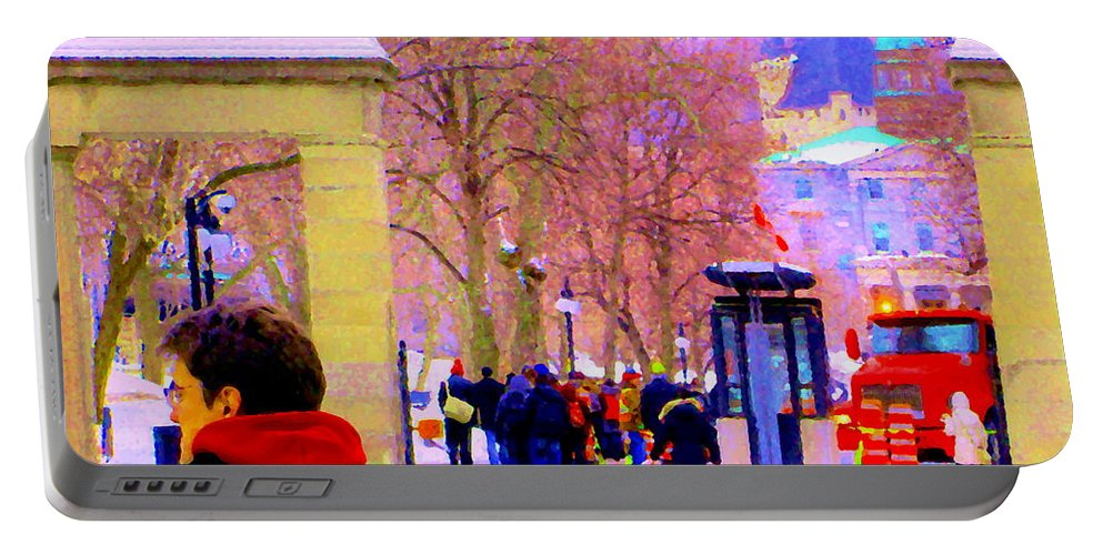 Mcgill University Portable Battery Charger featuring the painting Mcgill Campus Eager Students Enter Roddick Gates Montreal Collectible Art Prints Carole Spandau by Carole Spandau
