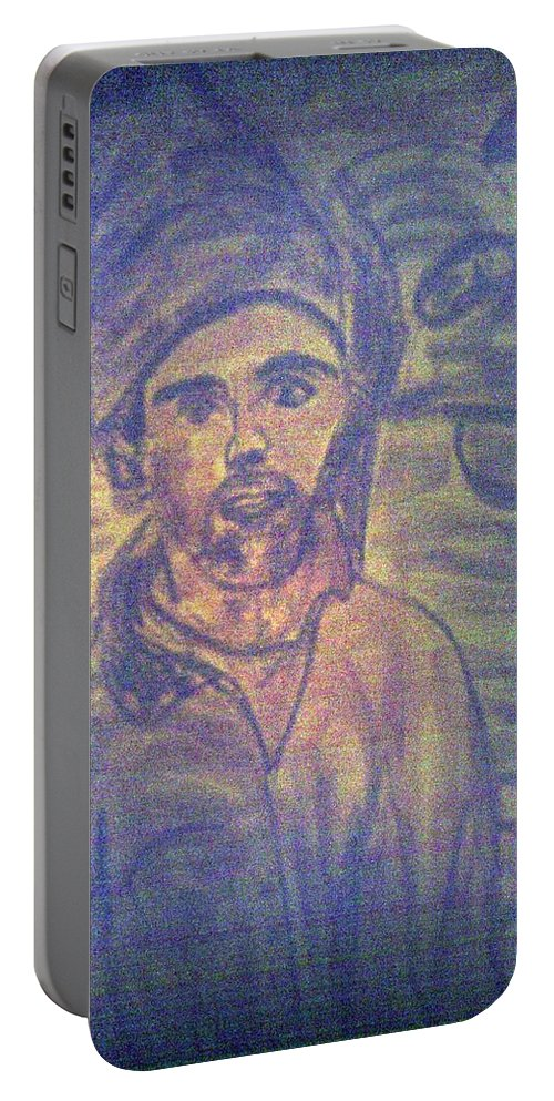 Conte Portable Battery Charger featuring the drawing Me And Little Guy by Shea Holliman