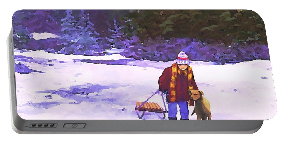 Landscape Portable Battery Charger featuring the painting Me And My Buddy by Sophia Schmierer