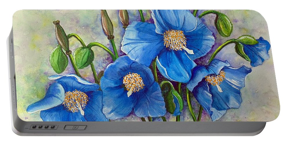 Blue Hymalayan Poppy Portable Battery Charger featuring the painting Meconopsis  Himalayan Blue Poppy by Karin Dawn Kelshall- Best