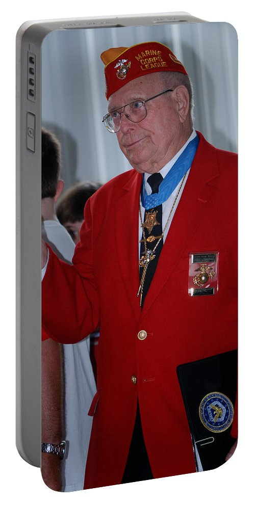 Moh Portable Battery Charger featuring the photograph Medal Of Honor Recipient by Thomas Woolworth