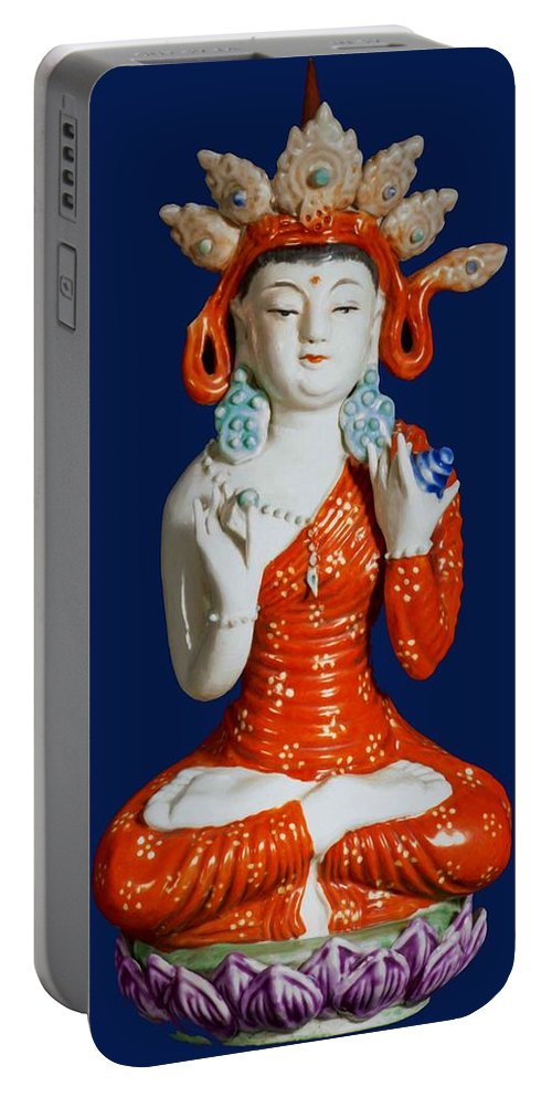 The Pharmacist Glass Light Tathagata Portable Battery Charger featuring the painting Medicine Buddha 2 by Jeelan Clark
