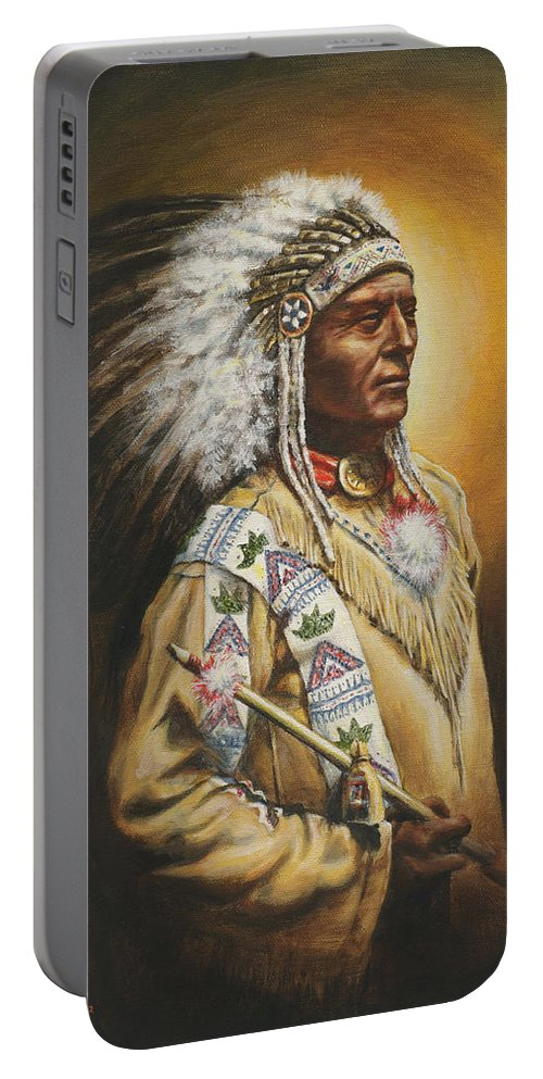 Western Portable Battery Charger featuring the painting Medicine Chief by Kim Lockman