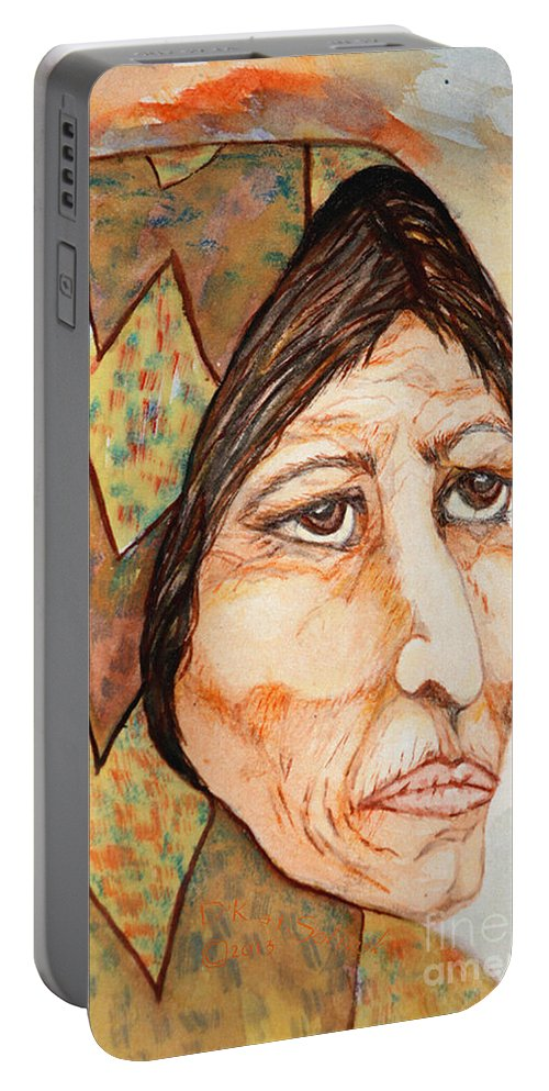 Medicine Woman Portable Battery Charger featuring the painting Medicine Woman by Kat Solinsky