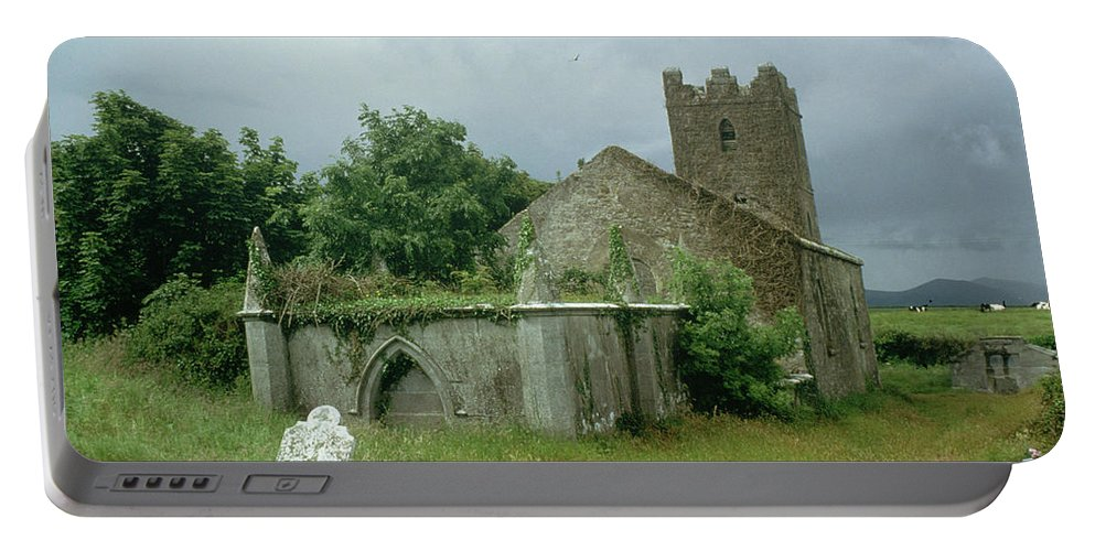 Medieval Church And Churchyard (photo) Site; Remains; Ruin; Ruined; Celtic; Rural; Abandonded; Gravestone; Irish; Goth Portable Battery Charger featuring the painting Medieval Church And Churchyard by Unknown