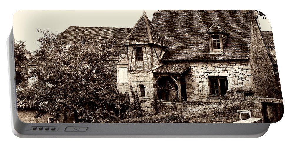Medieval Cottage Portable Battery Charger featuring the photograph Medieval Cottage In Sarlat Sepia by Weston Westmoreland