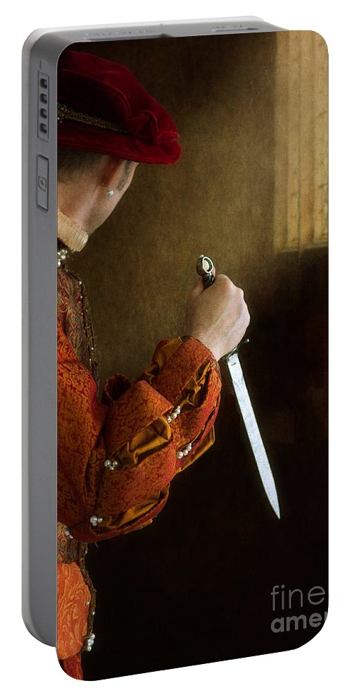 Medieval Portable Battery Charger featuring the photograph Medieval Man With Dagger by Lee Avison