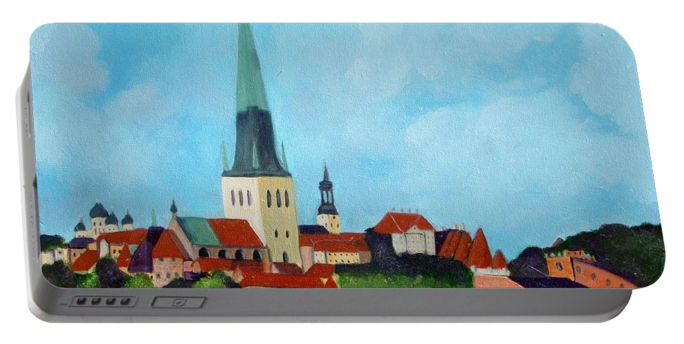 Tallinn Portable Battery Charger featuring the painting Medieval Tallinn by Laurie Morgan