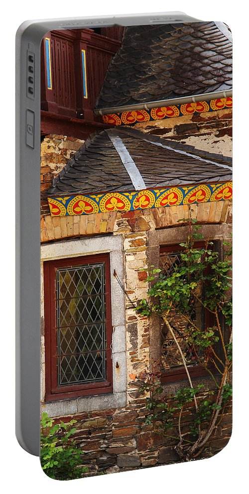 Medieval Portable Battery Charger featuring the photograph Medieval Window And Rose Bush In Germany by Greg Matchick
