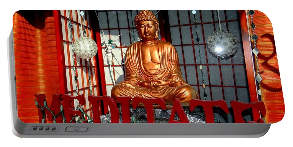 Signs Portable Battery Charger featuring the photograph Meditate by Ed Weidman