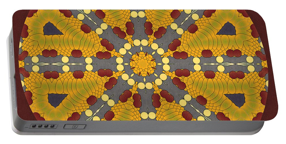 Mandala Portable Battery Charger featuring the digital art Meditating On Life - Mandala by Georgiana Romanovna