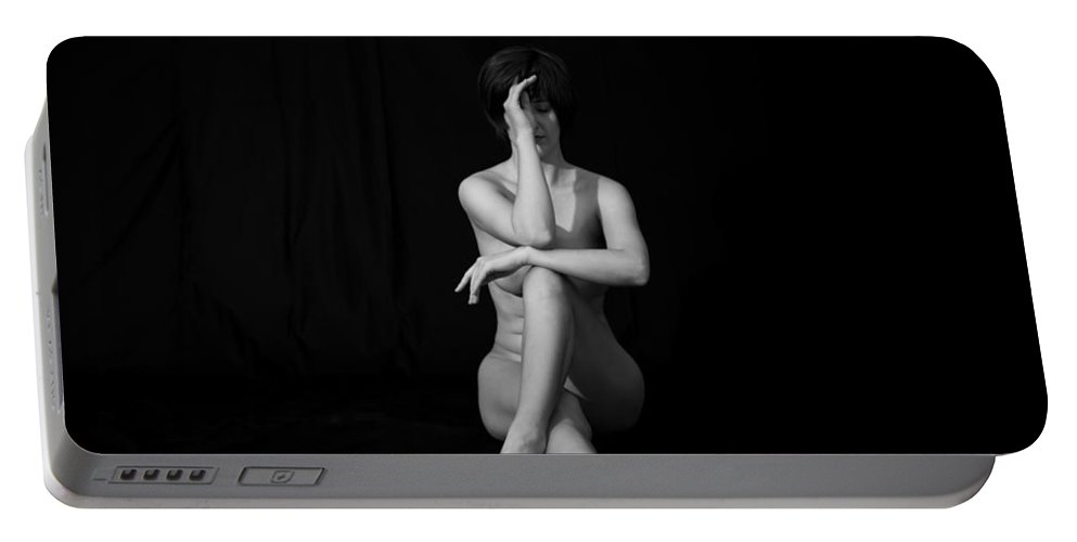Black And White Portable Battery Charger featuring the photograph Meditation by Mez