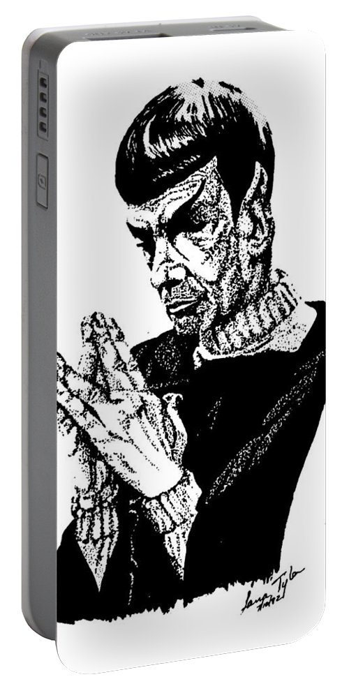 Star Trek Portable Battery Charger featuring the drawing Meditations by Lana Tyler