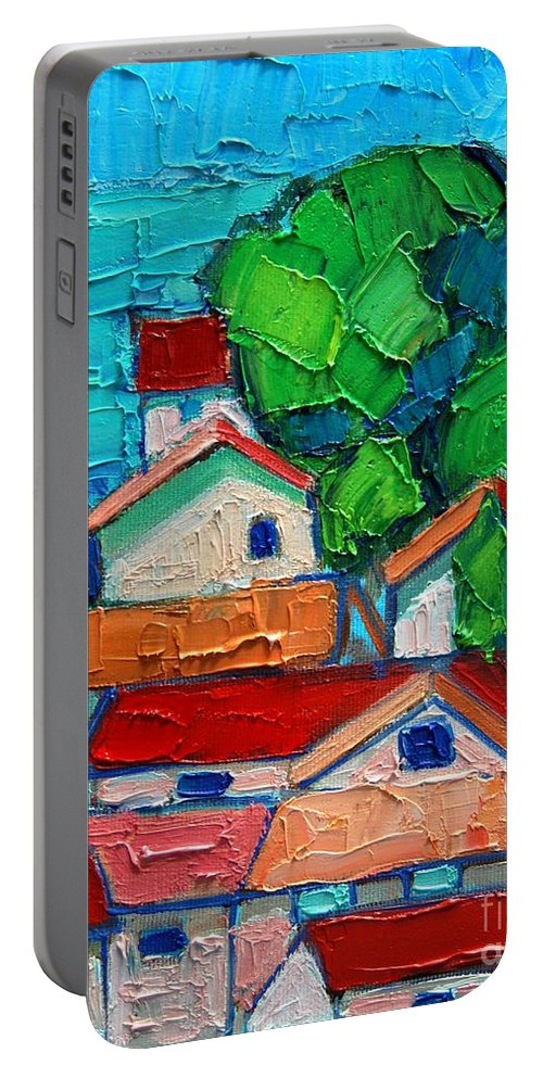Sveti Portable Battery Charger featuring the painting Mediterranean Roofs 2 by Ana Maria Edulescu