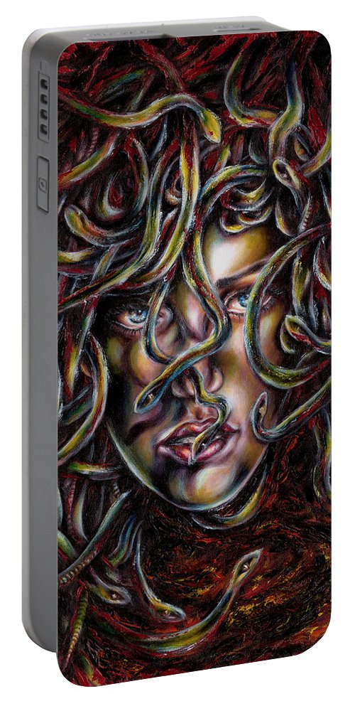 Medusa Portable Battery Charger featuring the painting Medusa No. Three by Hiroko Sakai