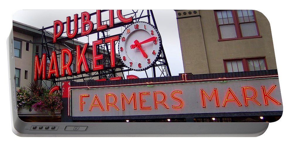 Pike Place Market Portable Battery Charger featuring the photograph Meet Me In Seattle by Karen Wiles